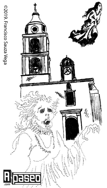 La Llorona enfrente del templo de San Andrés Apaseo el Alto