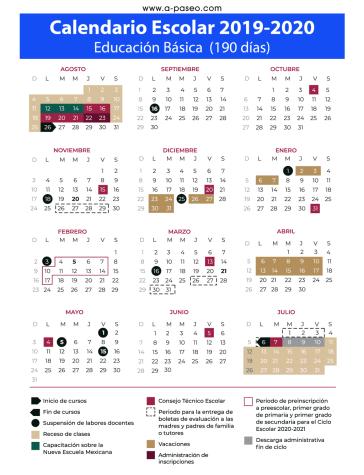 Calendario escolar de 190 días. Ciclo 2019-2020