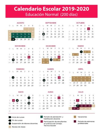 Calendario escolar de 200 días. Ciclo 2019-2020